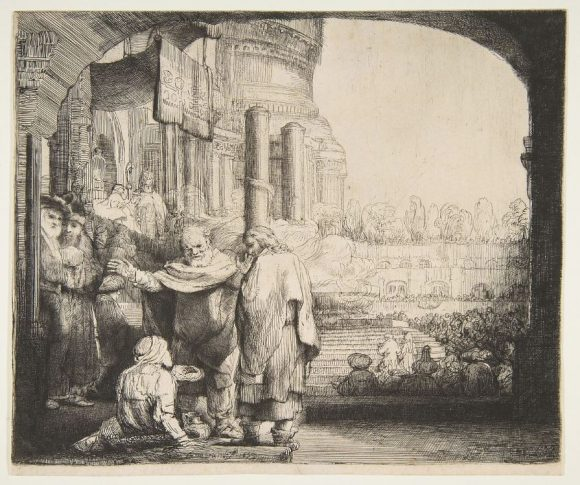 Peter and John Healing the Cripple at the Gate of the Temple Rembrandt